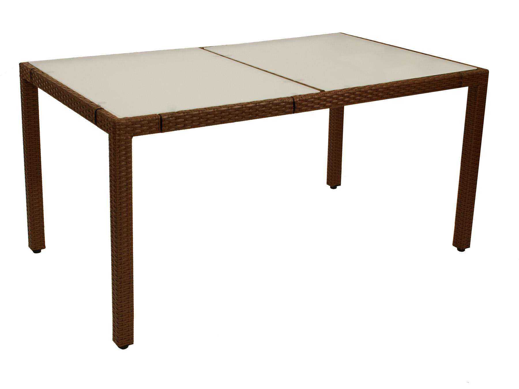 Tisch MONTREUX 150x90cm, Metall + Gefllecht braun, Tischplatte Glas