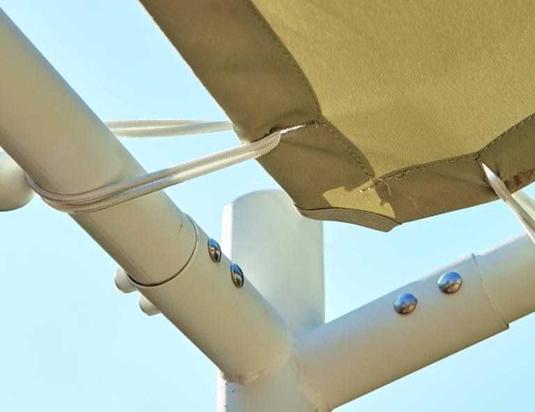 Anbaupavillon LEVINO 3x2,85 Meter, Gestell weiß mit Plane PU-bechichtet grau