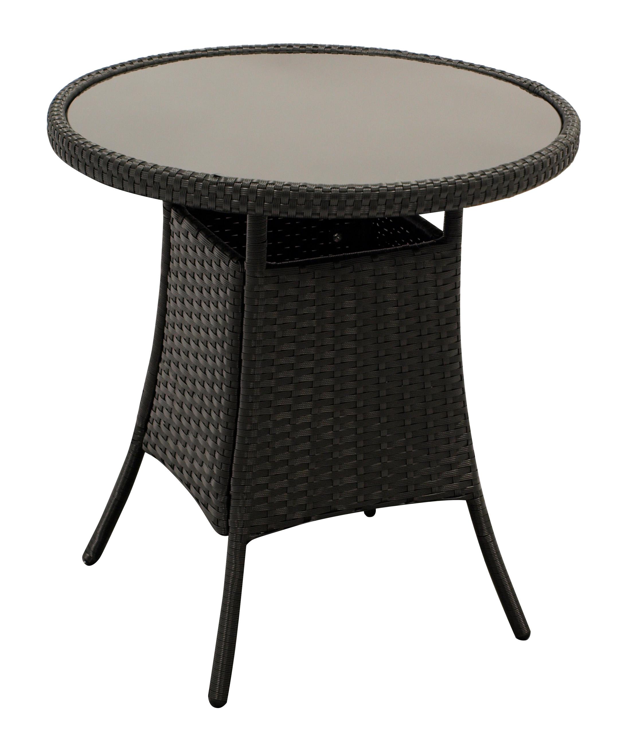 Beistelltisch VARESE 60cm rund, Geflecht schwarz, Platte Glas