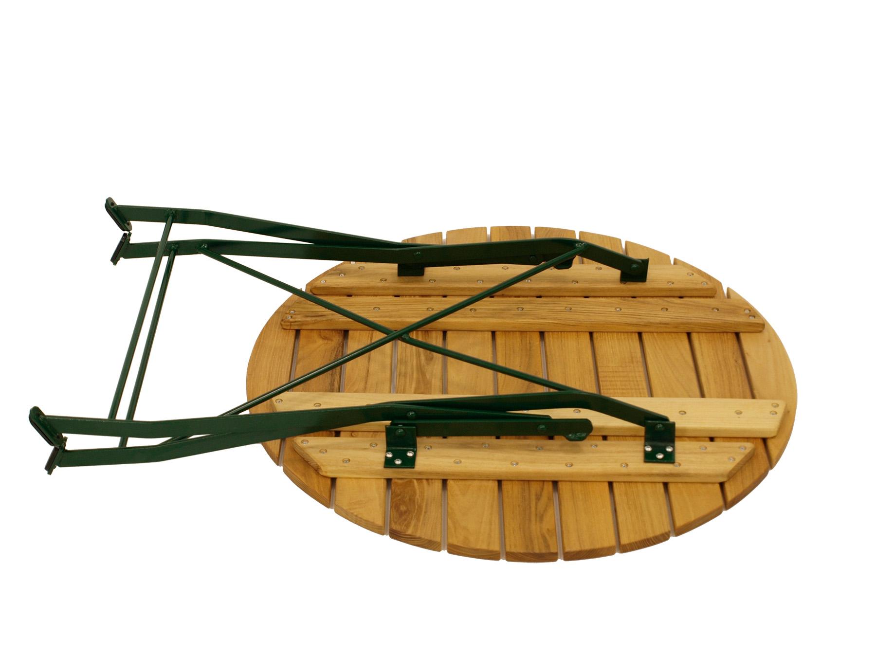 Klapptisch BAD TÖLZ 77cm rund, Flachstahl grün + Robinie