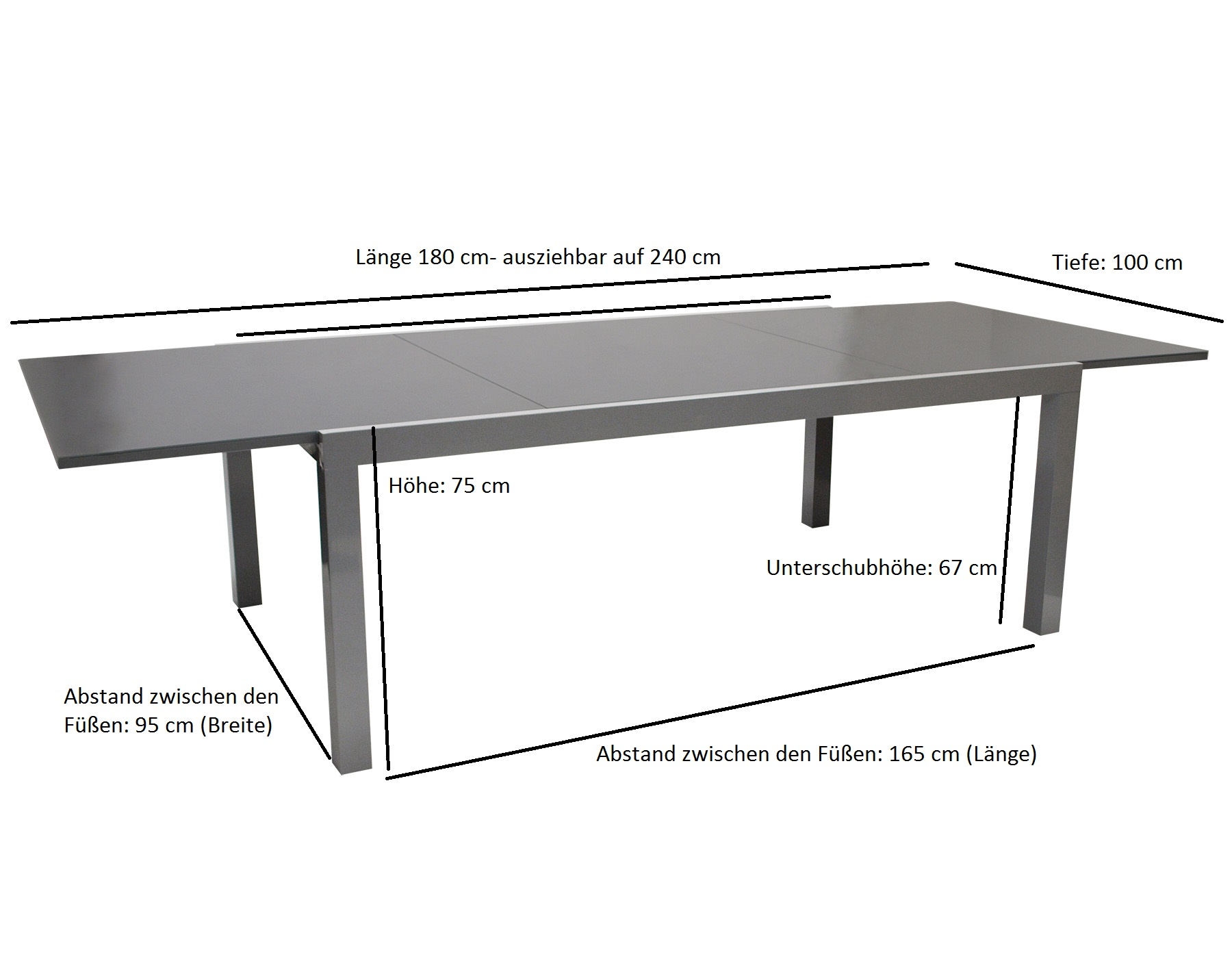 Garnitur VIENNA 7-teilig, Aluminium / Stahl + Polyrattan schwarz