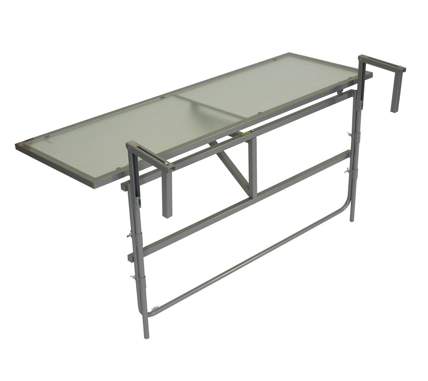 Balkonhängetisch 120x40cm, Stahl silber + Glas