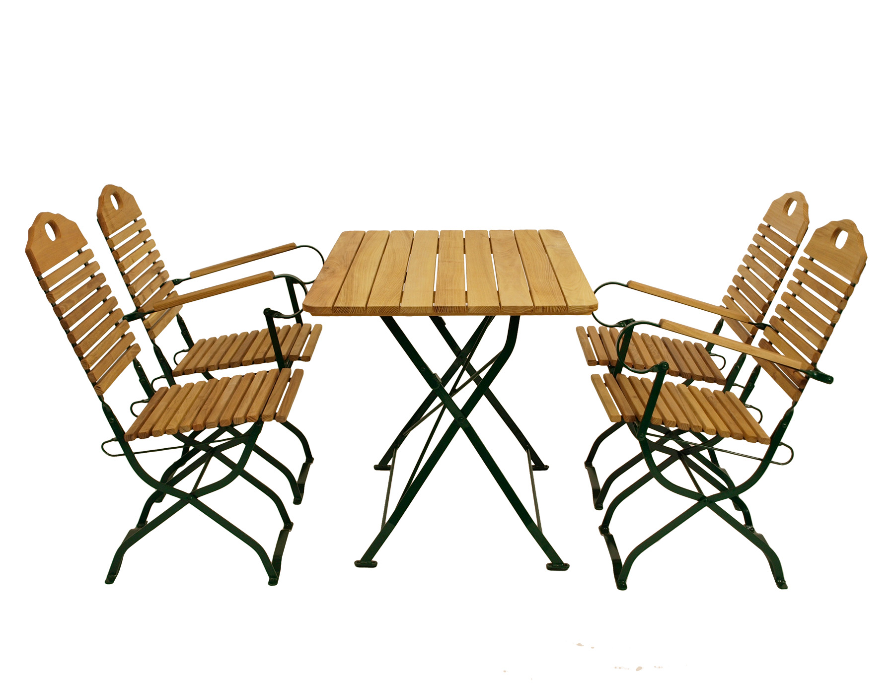 Kurgarten - Garnitur BAD TÖLZ 5-teilig, Flachstahl grün + Robinie, klappbar