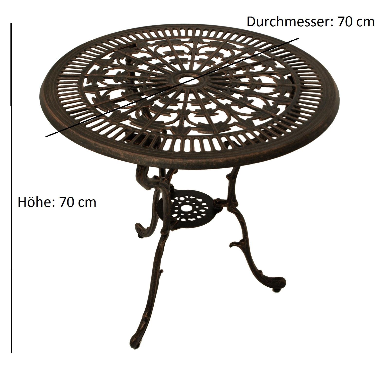 Tisch Jugendstil 70cm rund, Aluguss bronze antik