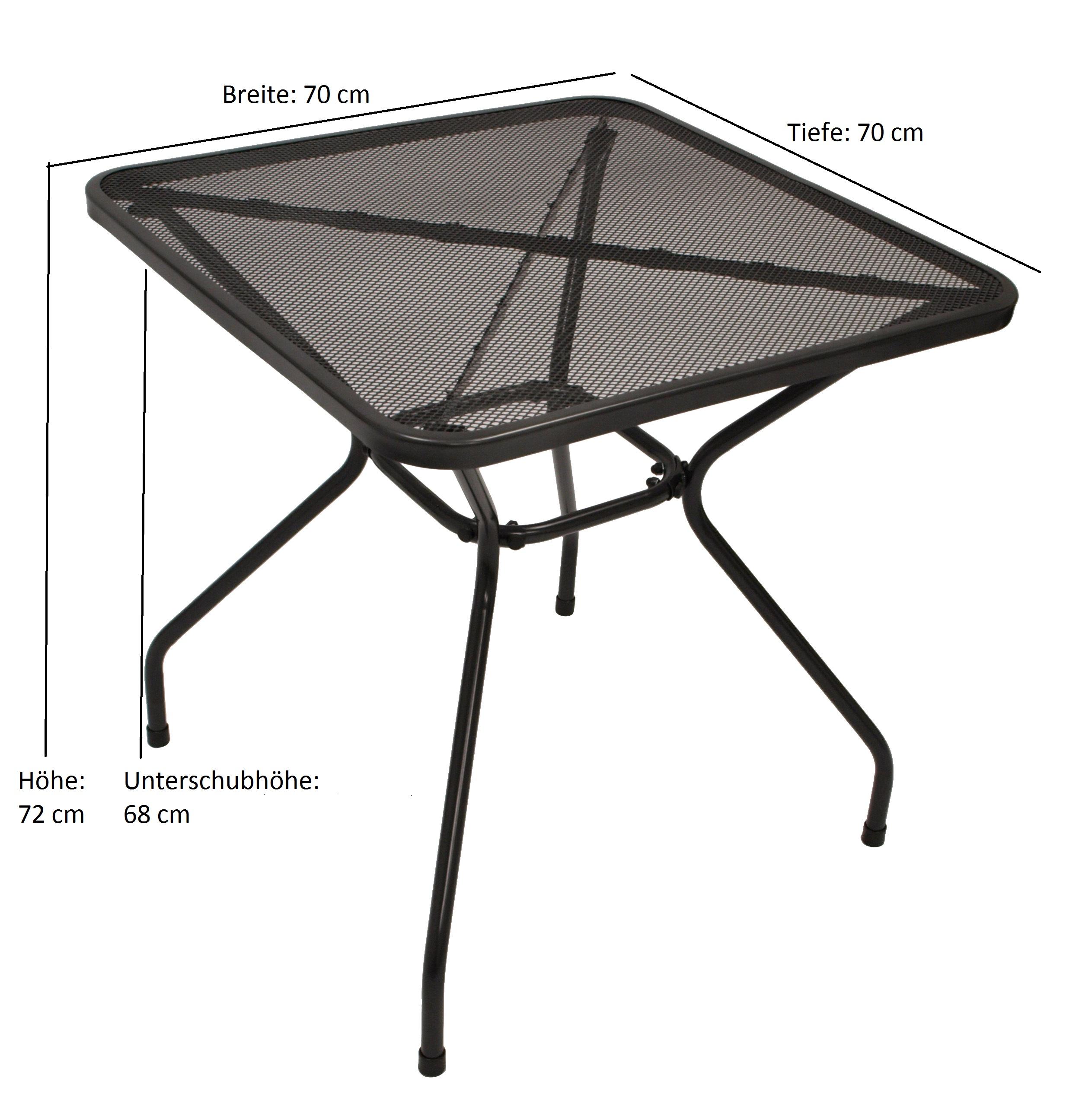 Garnitur CLASSIC 3-teilig, Streckmetall anthrazit (Tisch 70x70cm)