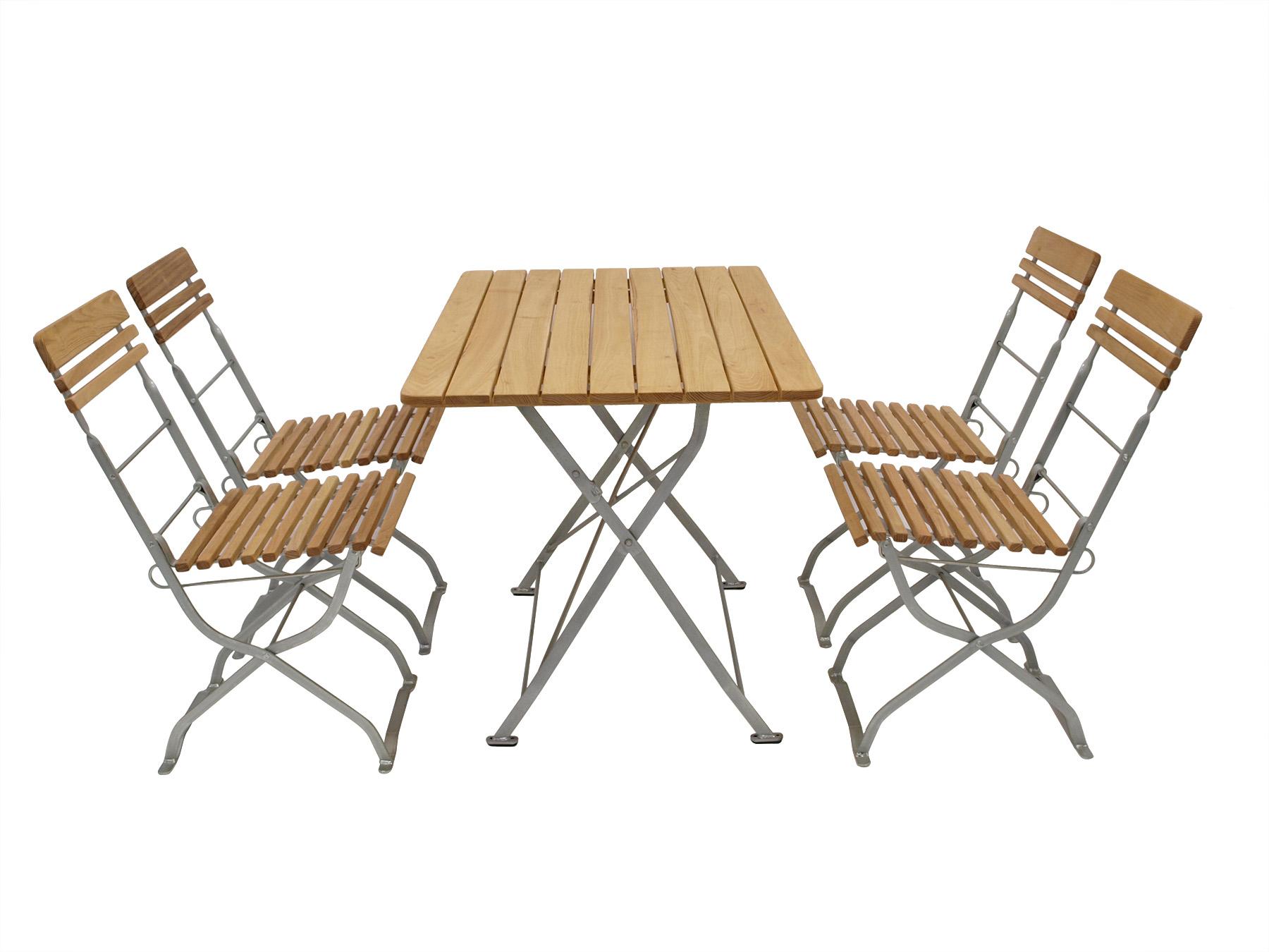 Biergarten - Garnitur MÜNCHEN 5-teilig, Flachstahl verzinkt + Robinie