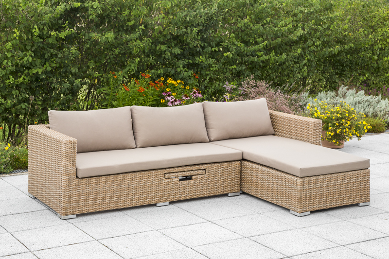 Lounge Set VENETO Stahl + Polyrattan natur, mit Kissentruhe und Verstelltisch
