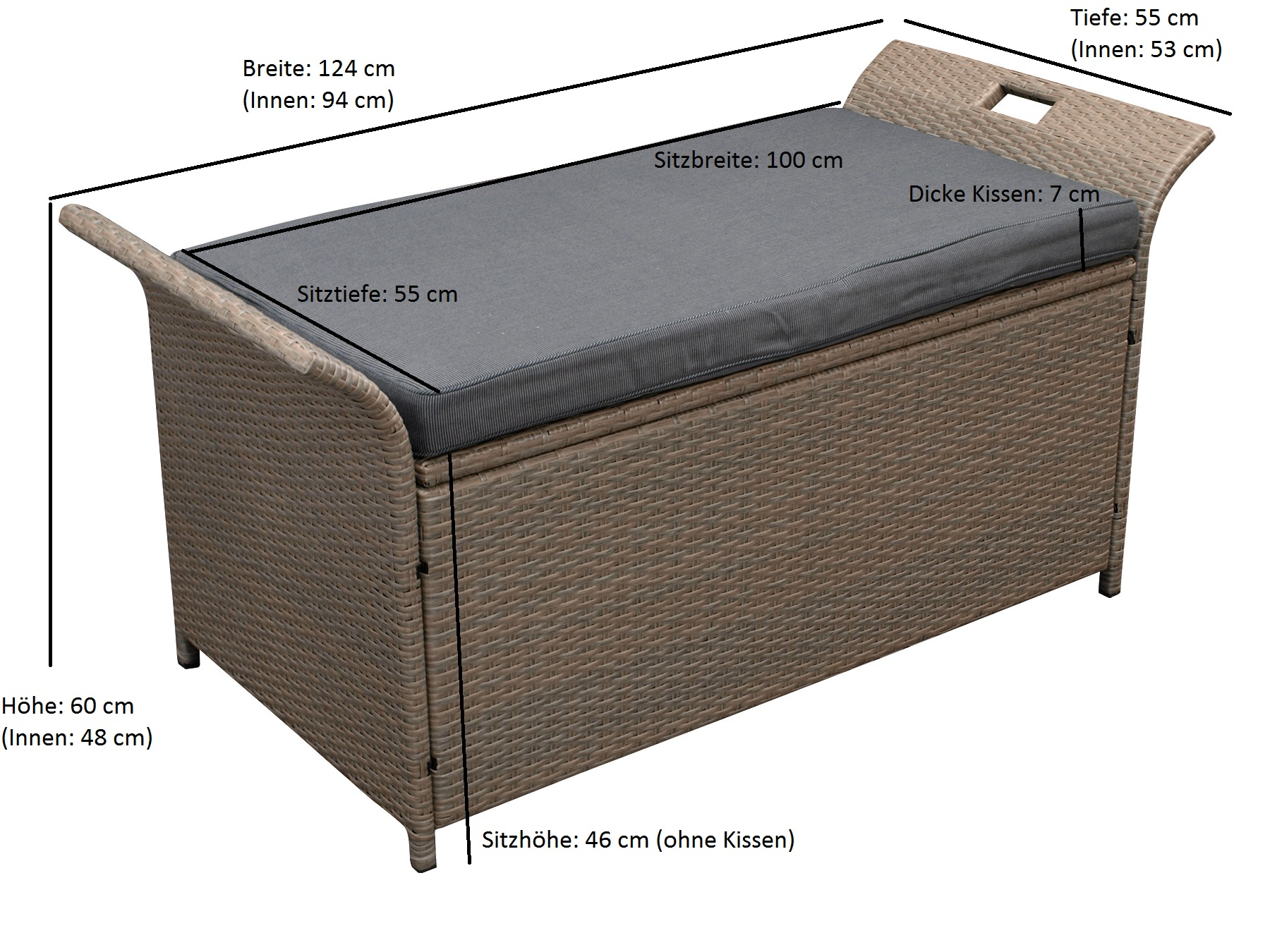 Auflagenbox TRENTO, Metall + Rattan naturgrau, Polster dunkelgrau