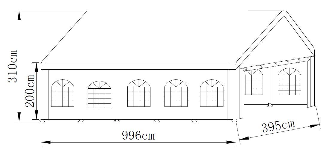 Profi - Zelt PALMA 4x10 Meter, PVC weiss