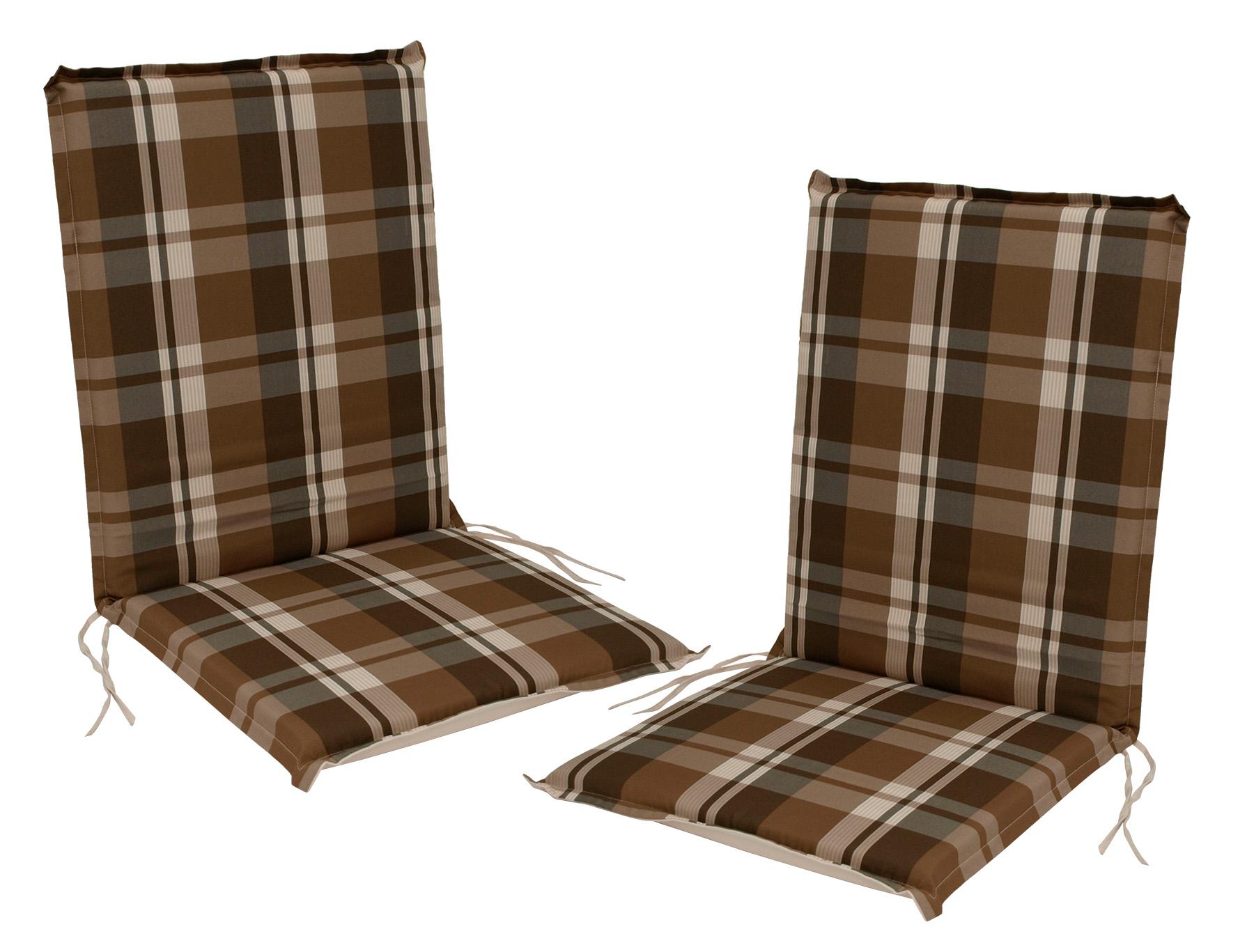 Auflage CAIRO für Stuhl, braun-kariert, 2 Stück