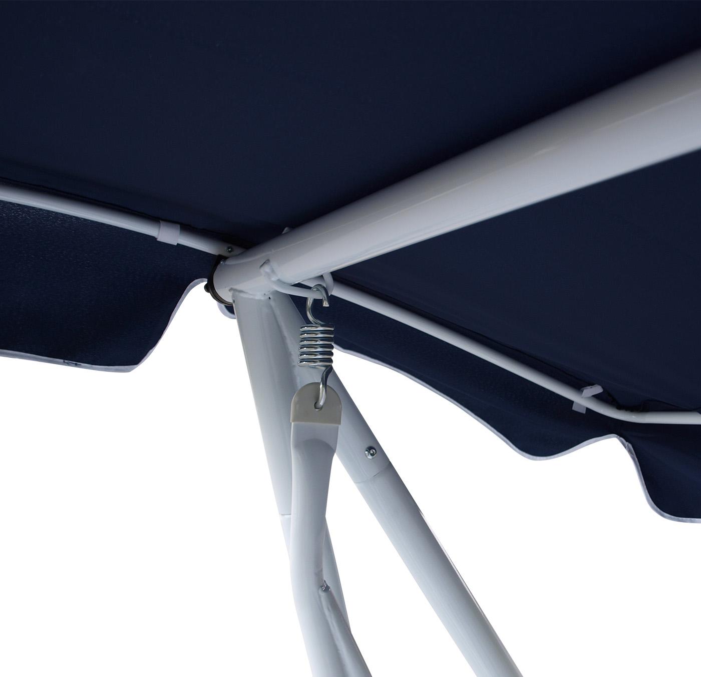 Hollywoodschaukel  MIAMI 4-sitzer, weiss / blau, mit Liegefunktion
