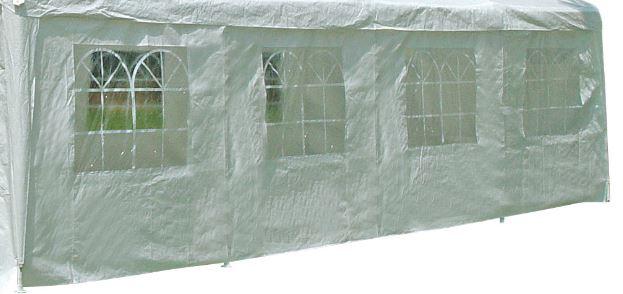 Seitenplane für Partyzelt, Länge 8 Meter, PE weiß mit Fenstern