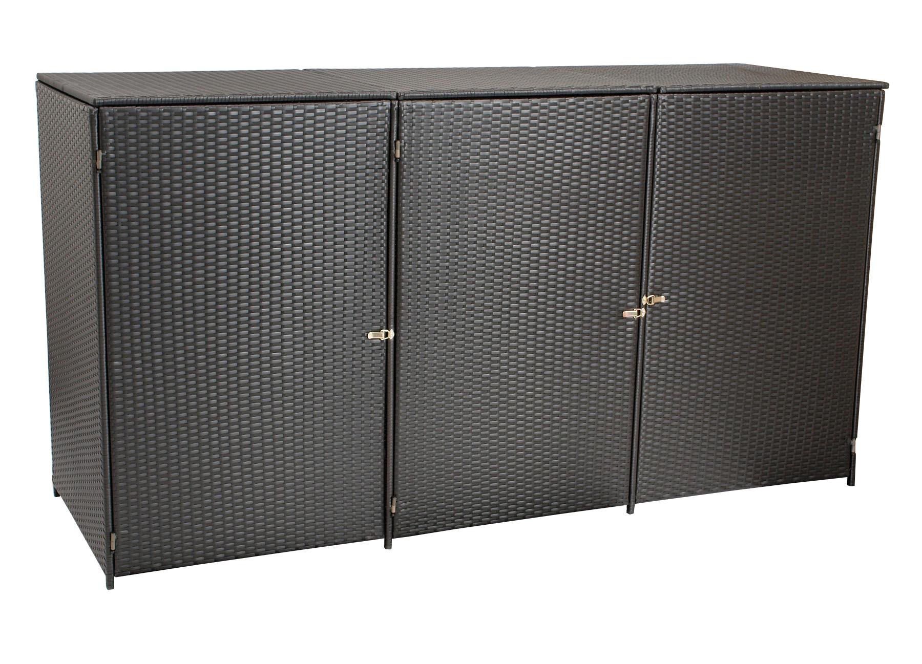 Mülltonnenbox 66x189x109cm für 3 Tonnen bis 120 Liter, Stahl + Polyrattan mocca