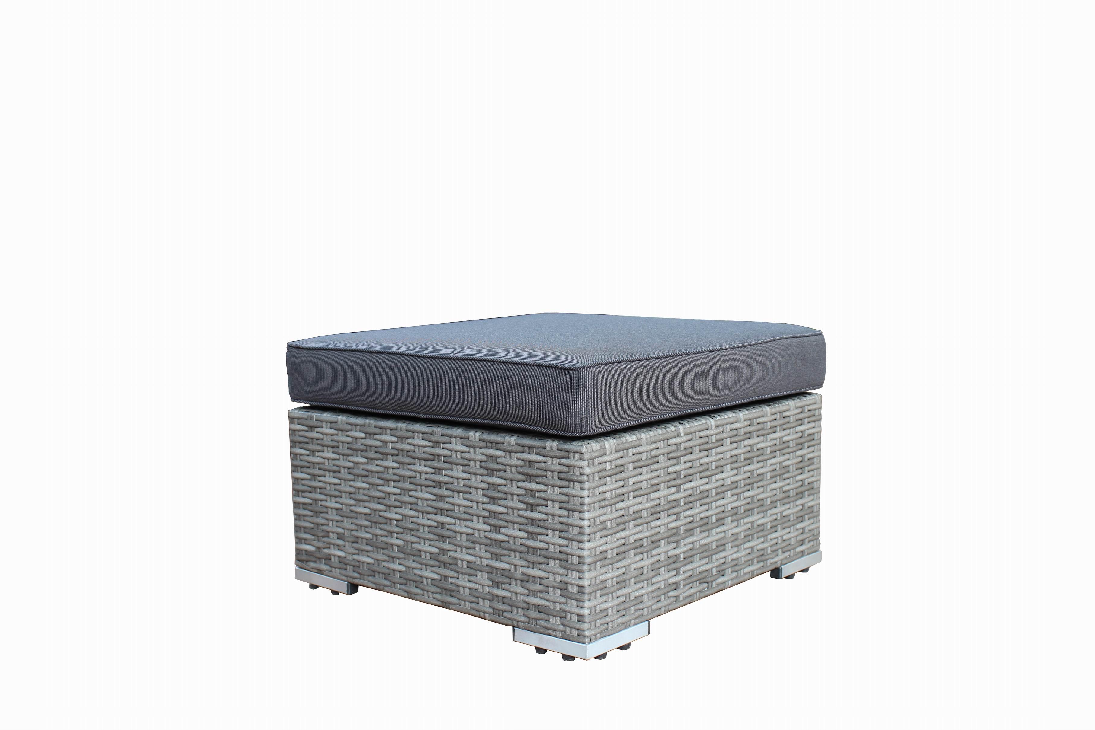 Lounge Set VILETTA, Aluminium + Polyrattan hellgrau, Polster dunkelgrau