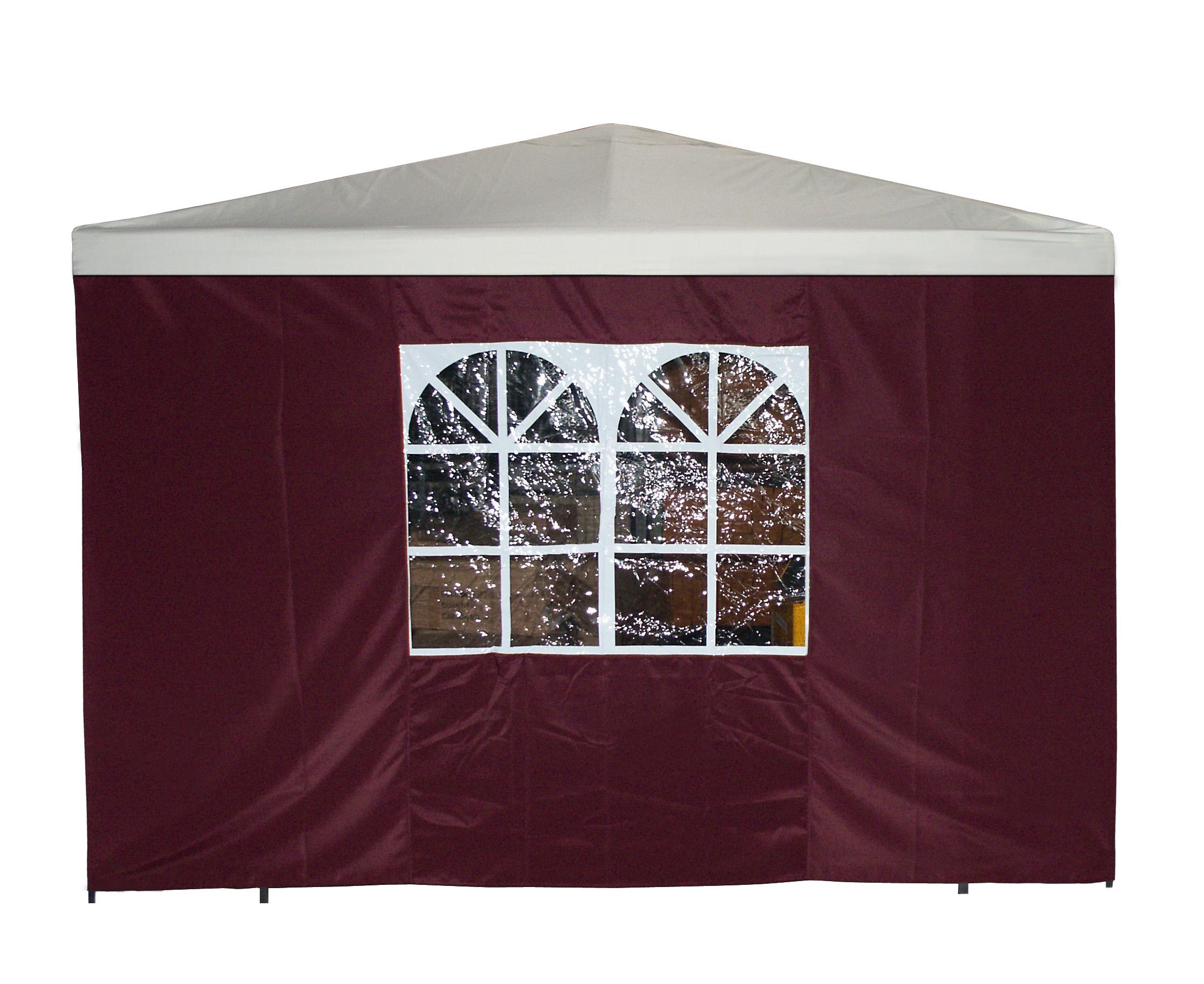 Seitenplane für Pavillon, 3x1,9 Meter, Polyester bordeaux mit Fenster