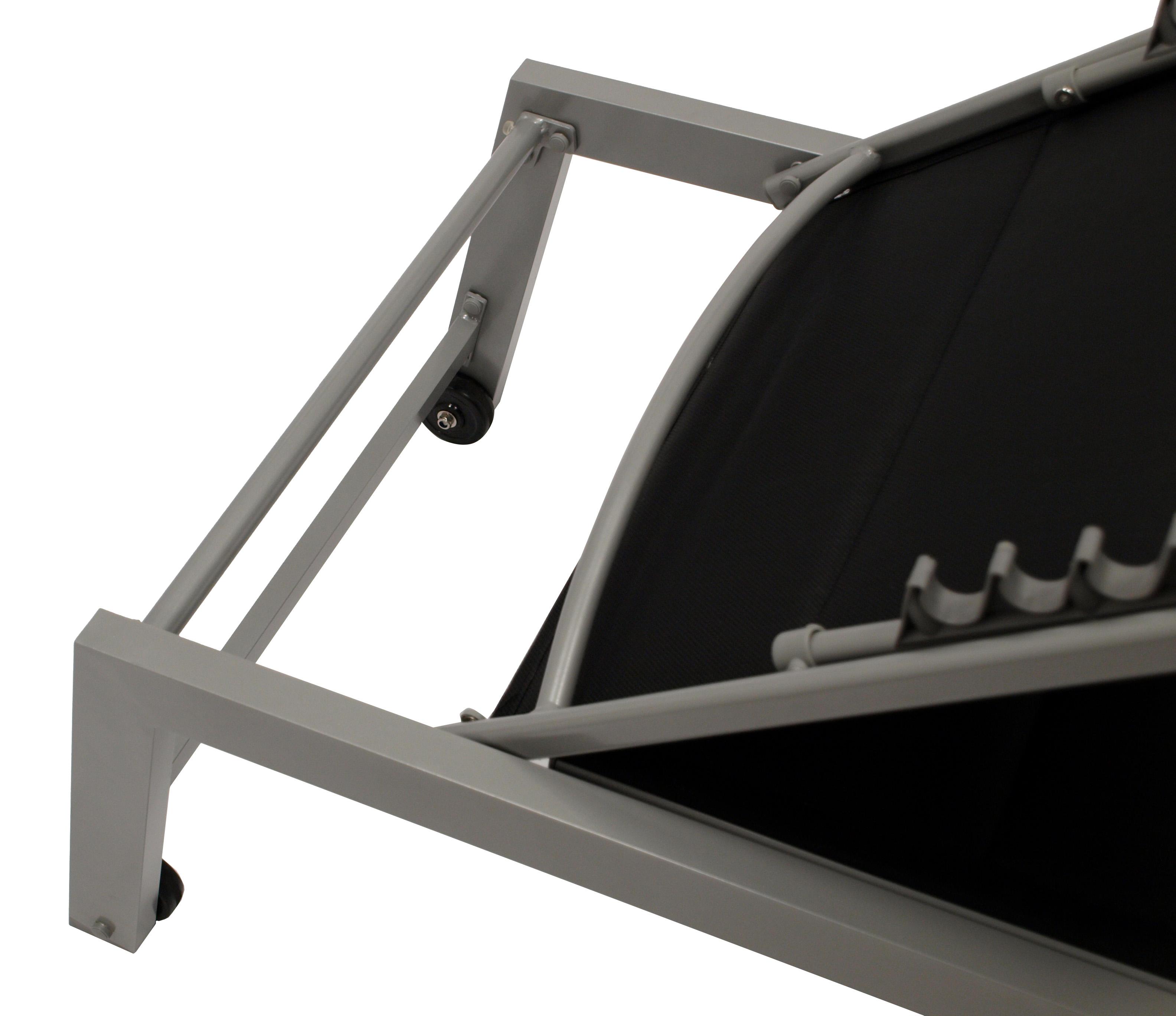 Rollenliege GIRONA extra hoch, Aluminium silber + Textilgewebe gepolstert  schwarz