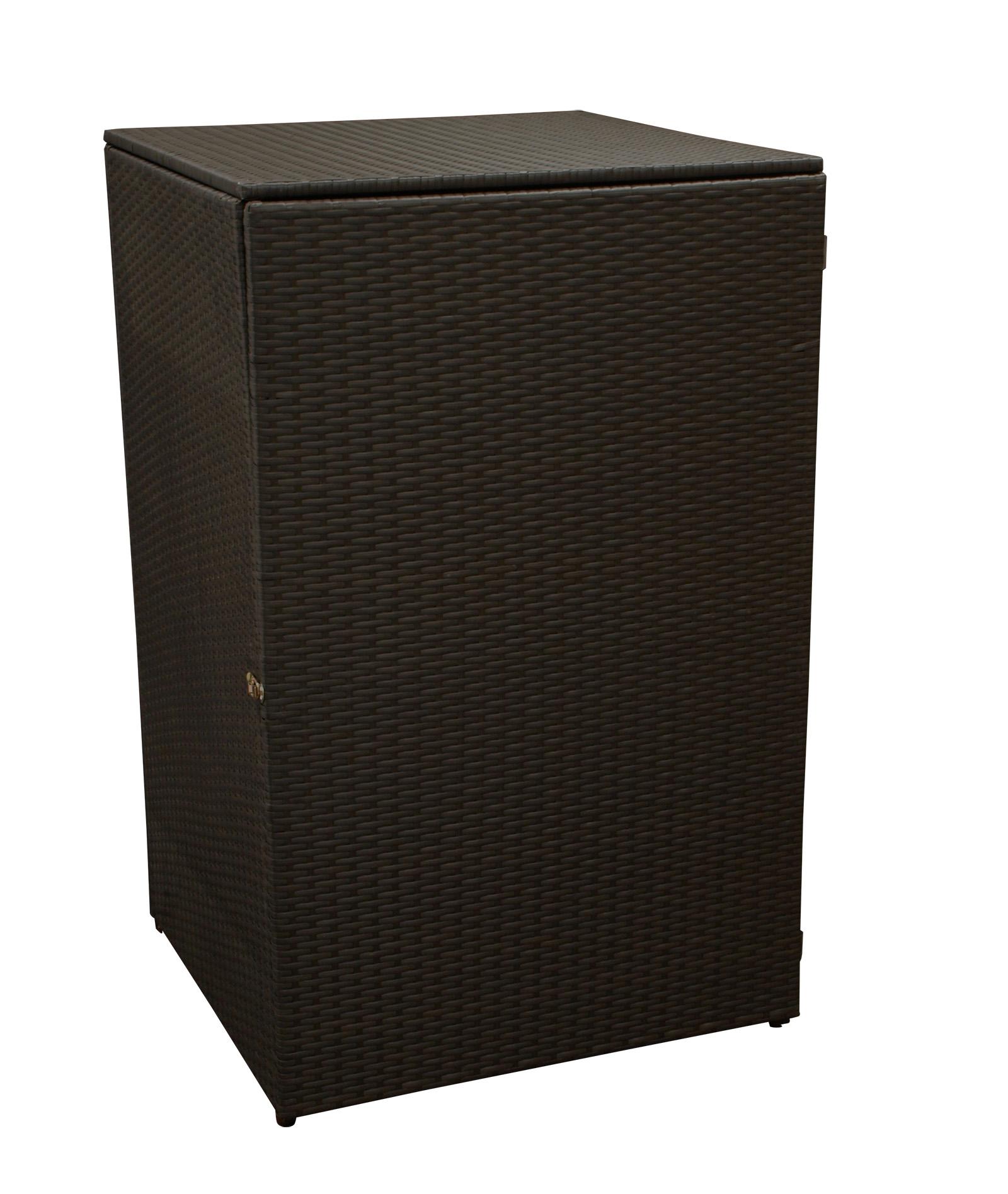 Mülltonnenbox 66x64x109cm für Tonnen bis 120 Liter, Stahl + Polyrattan mocca