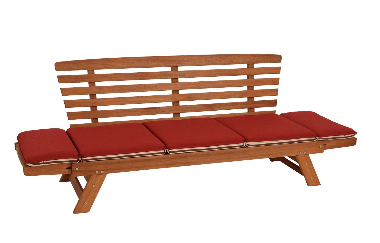 Liegesofa TIROL 202cm, Eukalyptus geölt, Wendeauflage Auflage rot beige, FSC®-ze