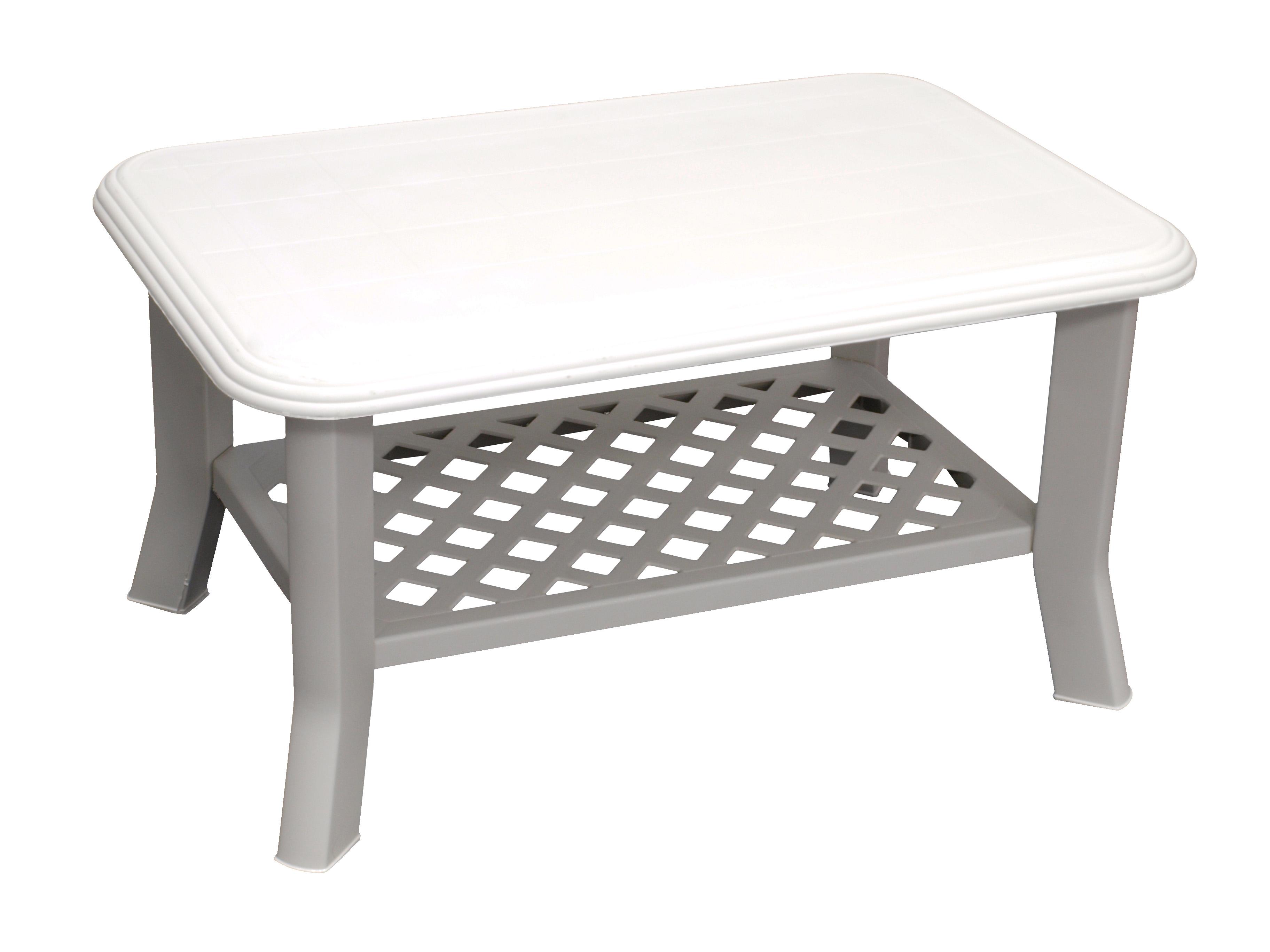 Loungetisch ALASSIO 90x60cm, Kunststoff weiss