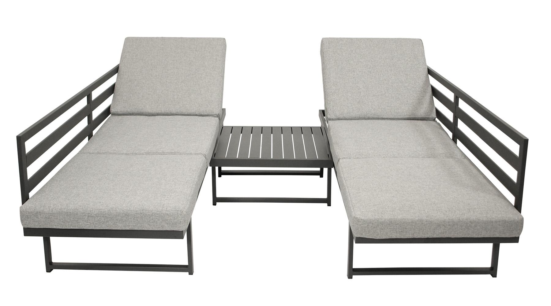 Funktions Lounge Set  BOGOTA, Aluminium matt-grau, Polster hellgrau