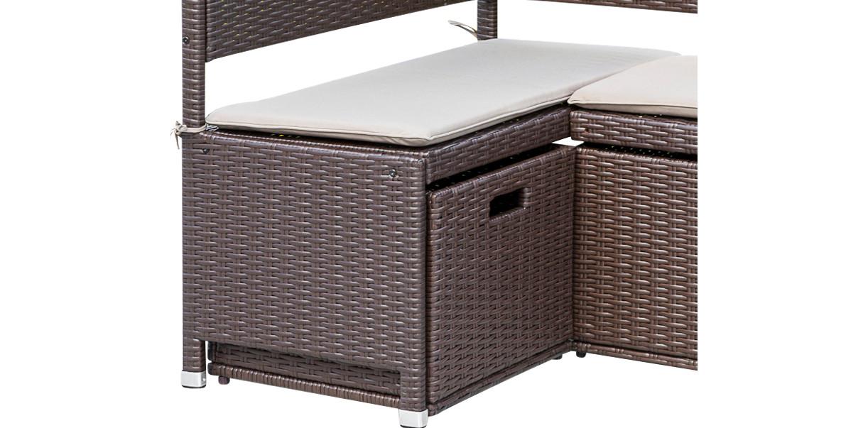 Unterschiebbox klein 49x47x40cm für Eckbank GRAZ, Stahl + Polyrattan, mocca